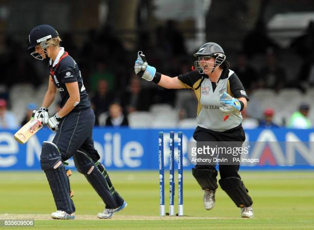 New Zealand's Rachel Priest celebrates as England captain Charlotte Edwards is bowled out by Sian Ruck during the Final of the Womens ICC World...
