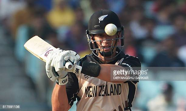 New Zealand's Ross Taylor plays a shot during the World T20 cricket tournament match between Bangladesh and New Zealand at The Eden Gardens Cricket...