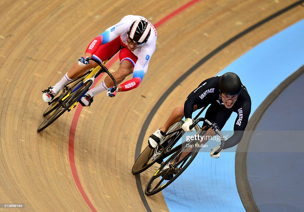 New Zealands Sam Webster (R) leads Russia's <a gi-track='captionPersonalityLinkClicked' href=/galleries/search?phrase=Denis+Dmitriev&family=editorial&specificpeople=5492378 ng-click='$event.stopPropagation()'>Denis Dmitriev</a> (L) into the final corner in their Men's Sprint race during Day Three of the UCI Track Cycling World Championships at Lee Valley Velopark Velodrome on March 4, 2016 in London, England.