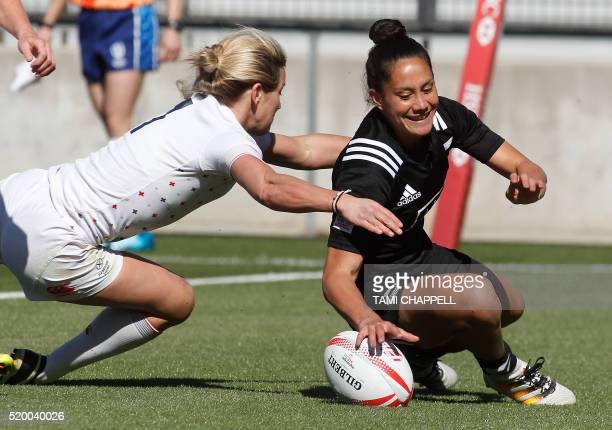 CORRECTION New Zealand's Shiray Tane falls in for a score as England's Claire Allen makes the late tackle during their semi final match at the...