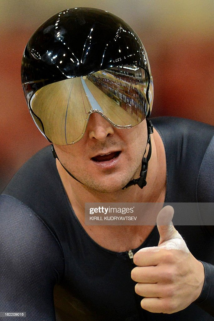 New Zealand's Simon Van Velthooven gestures after winning the silver medal during the UCI Track Cycling World Championships men's time trial in Minsk on February 20, 2013.
