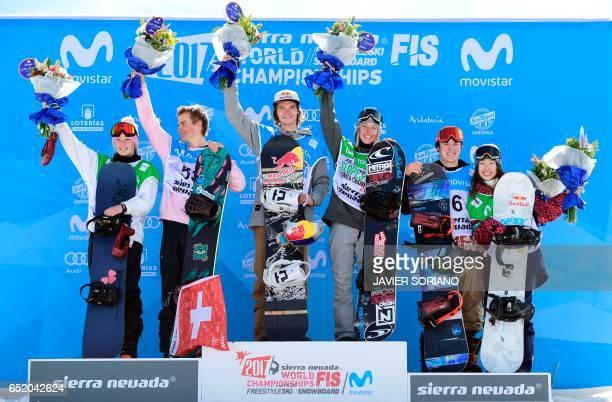New Zealand's snowboarder Zoi Sadowski Synnott Swiss snowboarder Nicolas Huber Belgian snowboarder Seppe Smits Canadian snowboarder Laurie Blouin US...