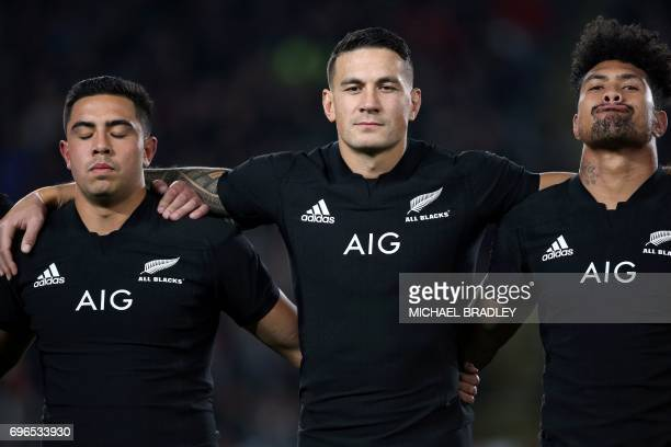 New Zealand's Sonny Bill Williams stands with teammates Anton LienertBrown and Ardie Savea before the international rugby test match between New...