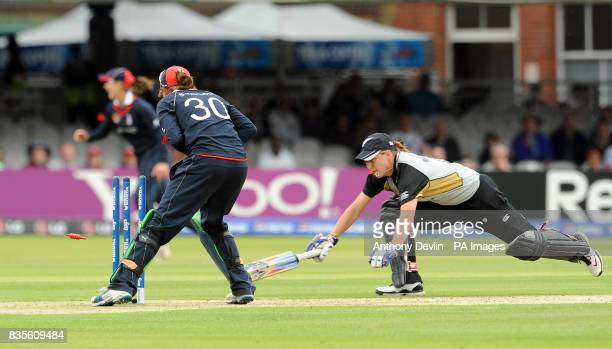 New Zealand's Sophie Devine is run out by Sarah Taylor during the Final of the Womens ICC World Twenty20 at Lords London