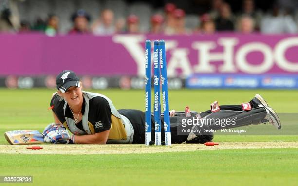 New Zealand's Sophie Devine looks on after being run out by England's Sarah Taylor during the Final of the Women's ICC World Twenty20 at Lords London
