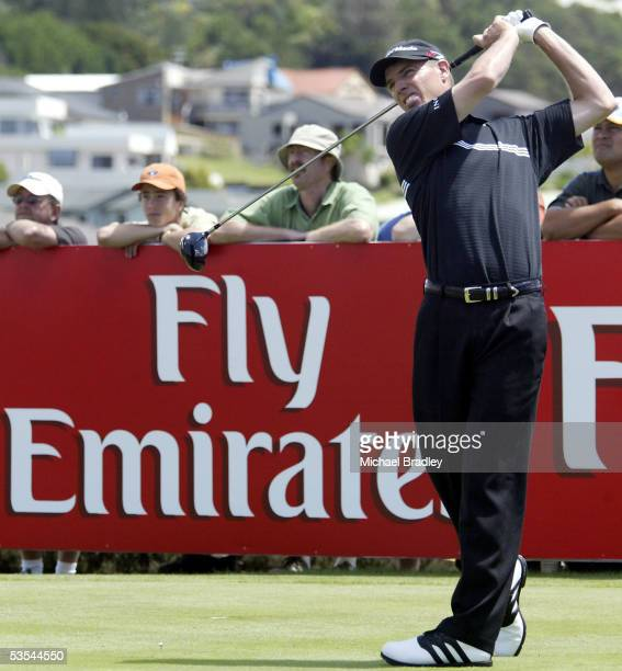 New Zealand's Steve Alker tees off on the Emirates sponsored 6th hole during the third day of the Holden New Zealand Golf Open played at the Gulf...