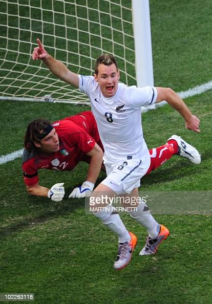 New Zealand's striker Shane Smeltz celebrates after scoring past Italy's goalkeeper Federico Marchetti during their Group F first round 2010 World...