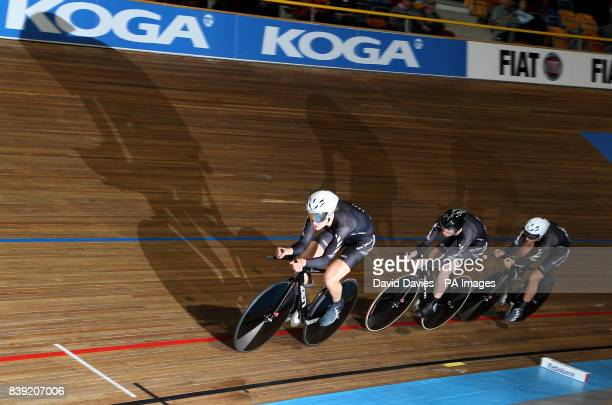 New Zealand's team pursuit team of Kaytee Boyd Jaime Nielsen and Alison Shanks