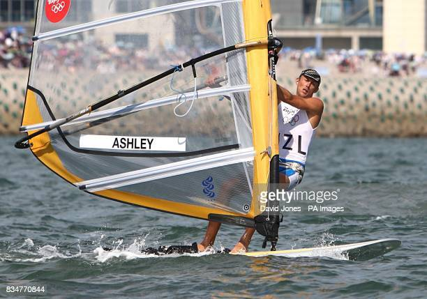 New Zealand's Tom Ashley during the final round of his RSX Sailing Competition at the Olympic Games' Sailing Centre in Qingdao on day 12 of the 2008...