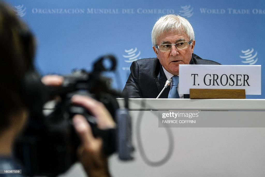 New Zealand's trade minister Tim Groser looks on during a press conference following a hearing on January 30, 2013 at the World Trade Organization (WTO) headquarters in Geneva. WTO began interviewing nine candidates to replace Pascal Lamy as director general. The WTO's 158 country members are to make their decision known by May 31.