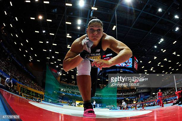 New Zealand's Valerie Adams competes to win in the Women Shot Put Final event at the IAAF World Indoor Athletics Championships in the Ergo Arena in...