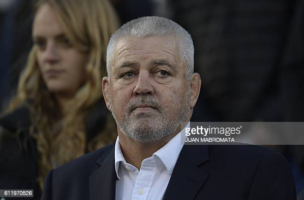 New Zealand's Warren Gatland the head coach of the British and Irish Lions is pictured before the start of the Rugby Championship match between...