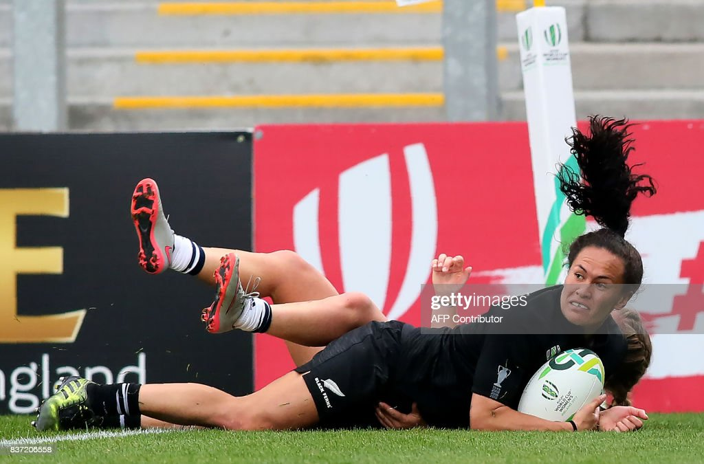 New Zealand's wing Portia Woodman scores a try during the Women's Rugby World Cup 2017 semi-final match between New Zealand and USA at The Kingspan Stadium in Belfast on August 22, 2017. PHOTO / Paul FAITH / RESTRICTED