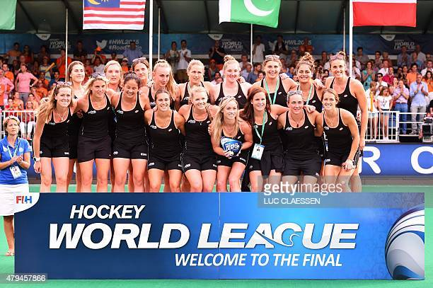 New Zealand's women field hockey team pose for a photo after the Netherlands defeated South Korea in the finals of the Women's Hockey World League...