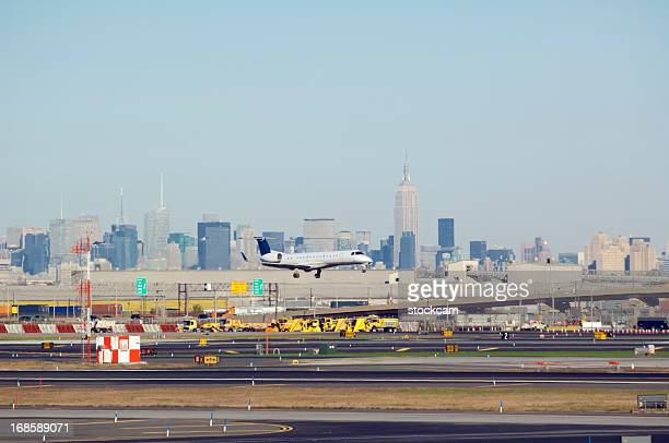Newark Airport, New Jersey, USA, with New York skyline