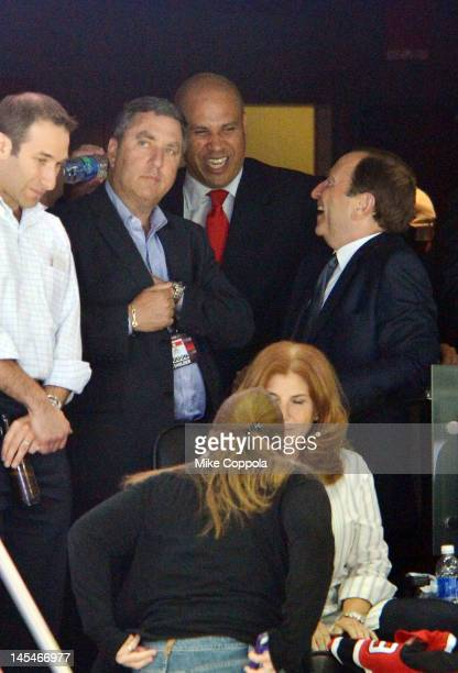Newark Mayor Cory Booker and NHL Commissioner Gary Bettman attends the Los Angeles Kings vs the New Jersey Devils game one during the 2012 Stanley...