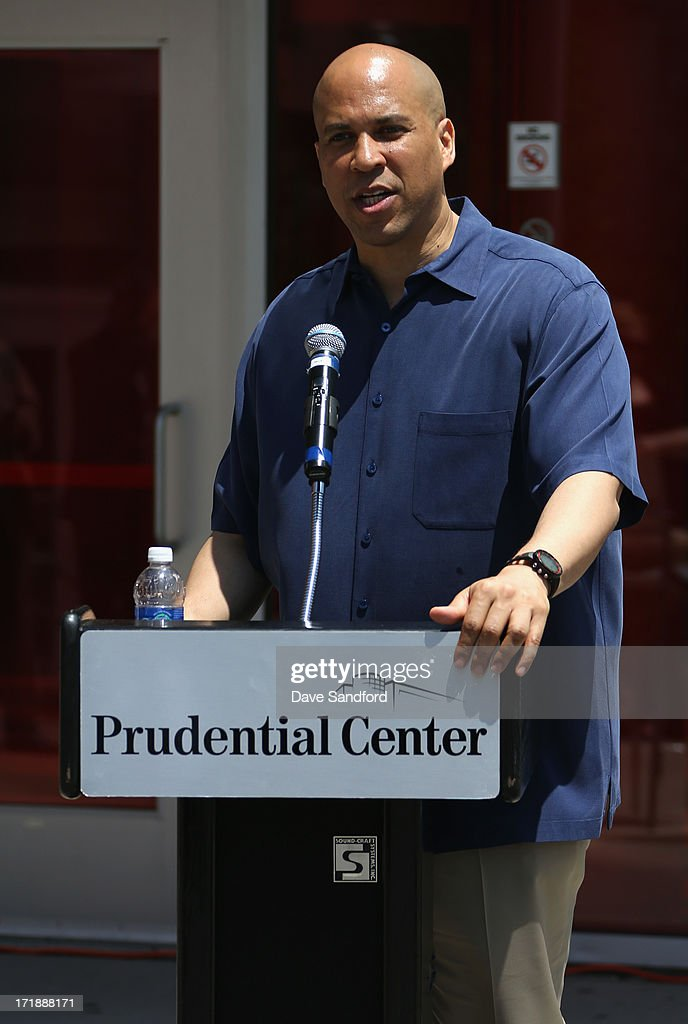 Newark mayor <a gi-track='captionPersonalityLinkClicked' href=/galleries/search?phrase=Cory+Booker&family=editorial&specificpeople=638070 ng-click='$event.stopPropagation()'>Cory Booker</a> speaks at the New Jersey Legacy Tree Project Press Conference at Prudential Center on June 29, 2013 in Newark, New Jersey. As part of the NHL's commitment to support the local environment of host cities for NHL events through its NHL Green initiative, the NHL Foundation has donated 30 trees to the Devils Care Foundation.