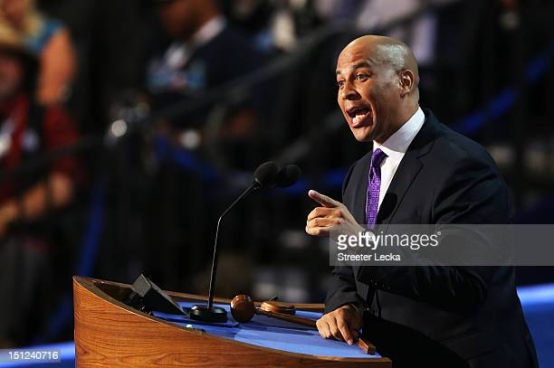 Newark Mayor Cory Booker speaks during day one of the Democratic National Convention at Time Warner Cable Arena on September 4 2012 in Charlotte...