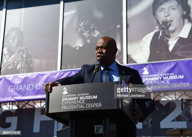 Newark Mayor Ras Baraka addresses the audience during the Grammy Museum Experience Prudential Center RibbonCutting Ceremony at Prudential Center on...