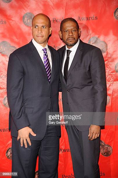 Newark New Jersey Mayor Cory Booker and actor/producer Forest Whitaker attend the 69th Annual Peabody Awards at The Waldorf=Astoria on May 17 2010 in...