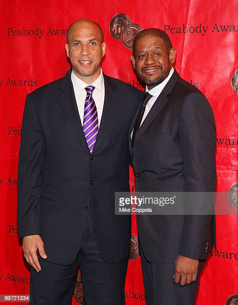Newark New Jersey Mayor Cory Booker and actor/producer Forest Whitaker attend the 69th Annual Peabody Awards at The Waldorf Astoria on May 17 2010 in...