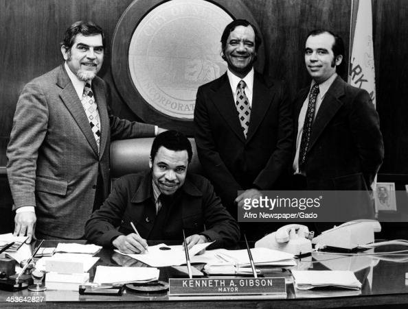 Newark New Jersey Mayor Kenneth Gibson signs a proclamation 1975