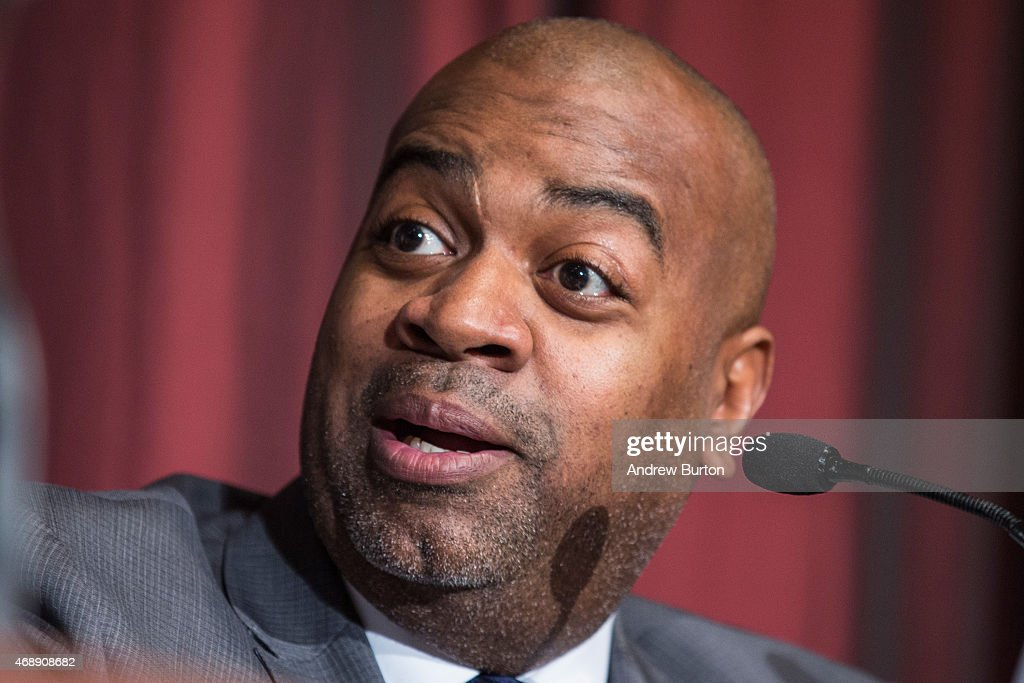 Newark New Jersey Mayor Ras Baraka speaks at the National Action Network national convention on April 8 2015 in New York City Reverend Al Sharpton...