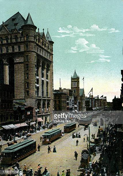 Newark New Jersey US View of Broad Street from Market Street Thought to date from early 20th century