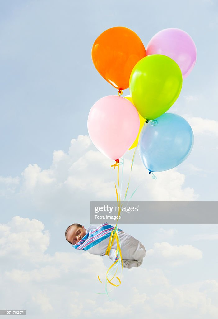 Newborn baby delivered by balloons