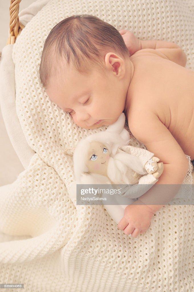 Newborn Baby Girl Sleeping - Cute, Happy and Smiling : Stock Photo