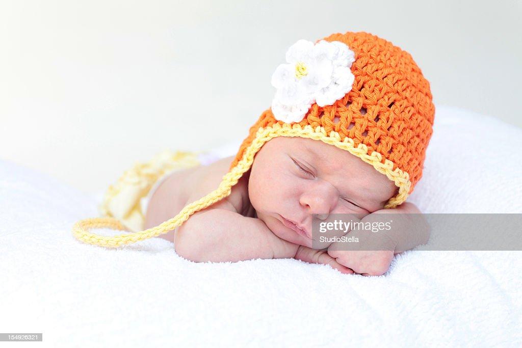 Newborn Baby Girl Sleeping : Stock Photo