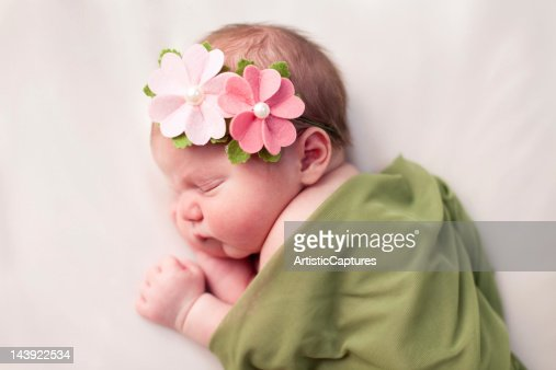 Newborn Baby Girl Swaddled in Soft, Green Blanket : Stock Photo