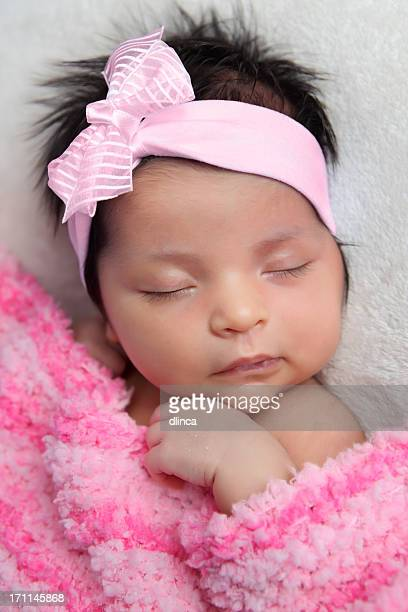 Newborn Baby with Pink Bow