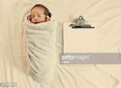 Newborn Boy with Clipboard