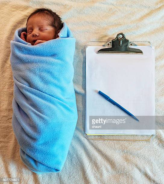 Newborn Boy with Clipboard