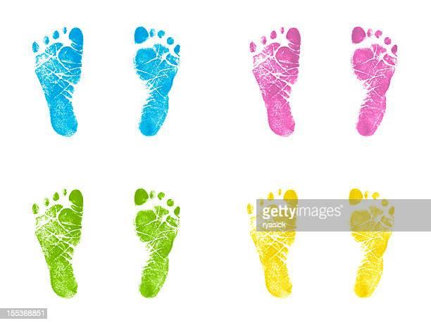Neonato stampati impressioni inchiostro traccia multicolore