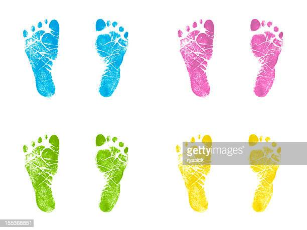 Newborn Footprints Multicolor Inked Stamped Impressions
