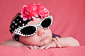 Newborn Girl in Sunglasses