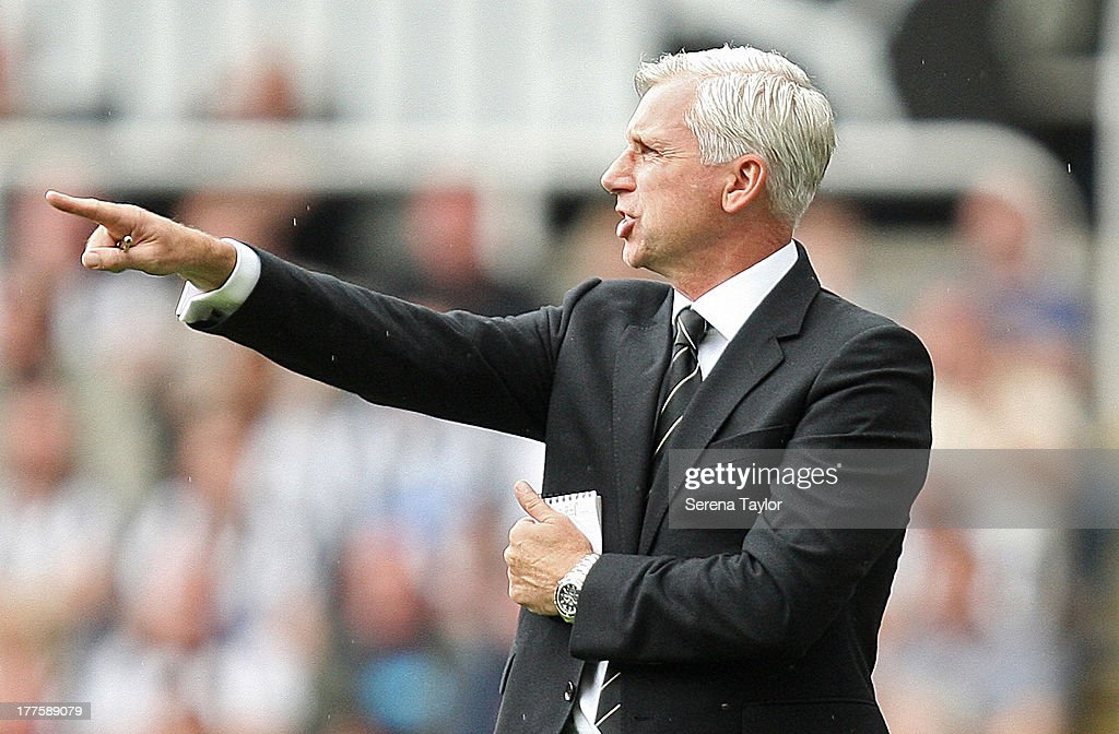 Newcasle United Manager Alan Pardew gives instructions during the Barclays Premiership Match between Newcastle United and West Ham United at St. James Park on August 24, 2013, in Newcastle upon Tyne, England.