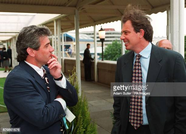 Newcastle boss Kevin Keegan meets Labour leader Tony Blair at Wembley for the start of the Euro 96 Championships