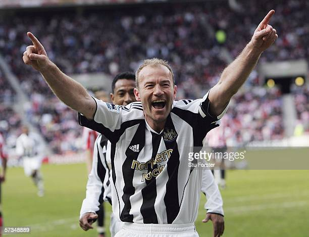 Newcastle captain Alan Shearer celebrates after scoring the second goal during the Barclays Premiership match between Sunderland and Newcastle United...