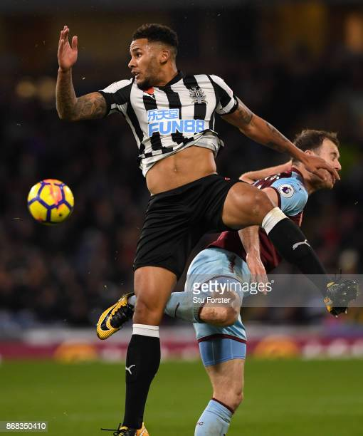 Newcastle captain Jamaal Laschelles in action during the Premier League match between Burnley and Newcastle United at Turf Moor on October 30 2017 in...