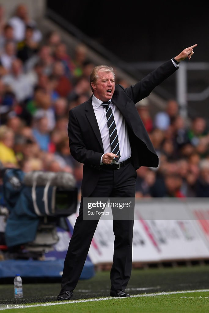 Newcastle coach Steve McClaren reacts during the Barclays Premier League match between Swansea City and Newcastle United at the Liberty stadium on August 15, 2015 in Swansea, United Kingdom.
