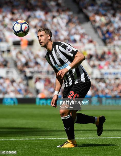 Newcastle defender Florian Lejeune in action during the Premier League match between Newcastle United and Tottenham Hotspur at St James Park on...