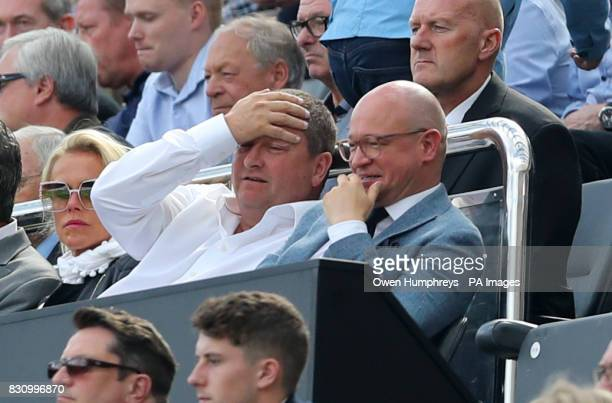 Newcastle Director Mike Ashley and Managing Director Lee Charnley in the stands during the Premier League match at St James' Park Newcastle