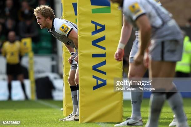 Newcastle Falcons' Alex Tait stands between the posts as he and his team mates wait for a set play to begin