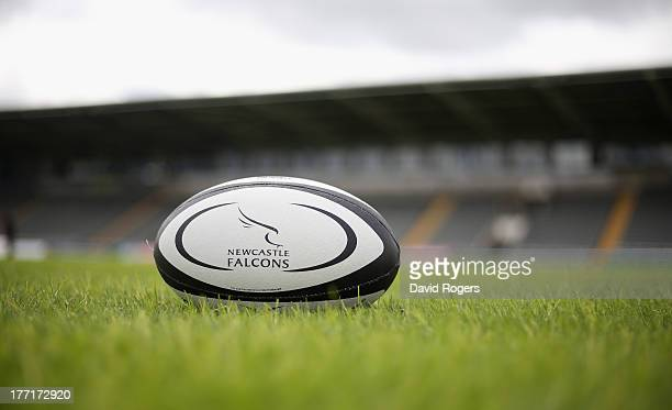 Newcastle Falcons ball on the pitch at Kingston Park on August 21 2013 in Newcastle upon Tyne England