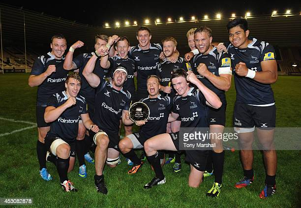 Newcastle Falcons celebrate reaching the final of the Premiership Rugby 7's during the Premiership Rugby 7's Series at The Darlington Northern Echo...