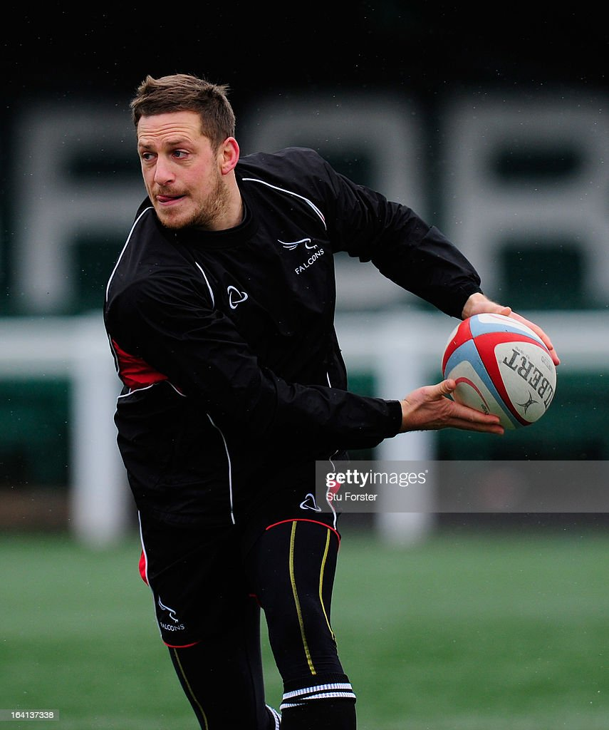 Newcastle Falcons fly half <a gi-track='captionPersonalityLinkClicked' href=/galleries/search?phrase=Jimmy+Gopperth&family=editorial&specificpeople=561375 ng-click='$event.stopPropagation()'>Jimmy Gopperth</a> in action during Falcons training at Druid Park on March 20, 2013 in Newcastle upon Tyne, England.