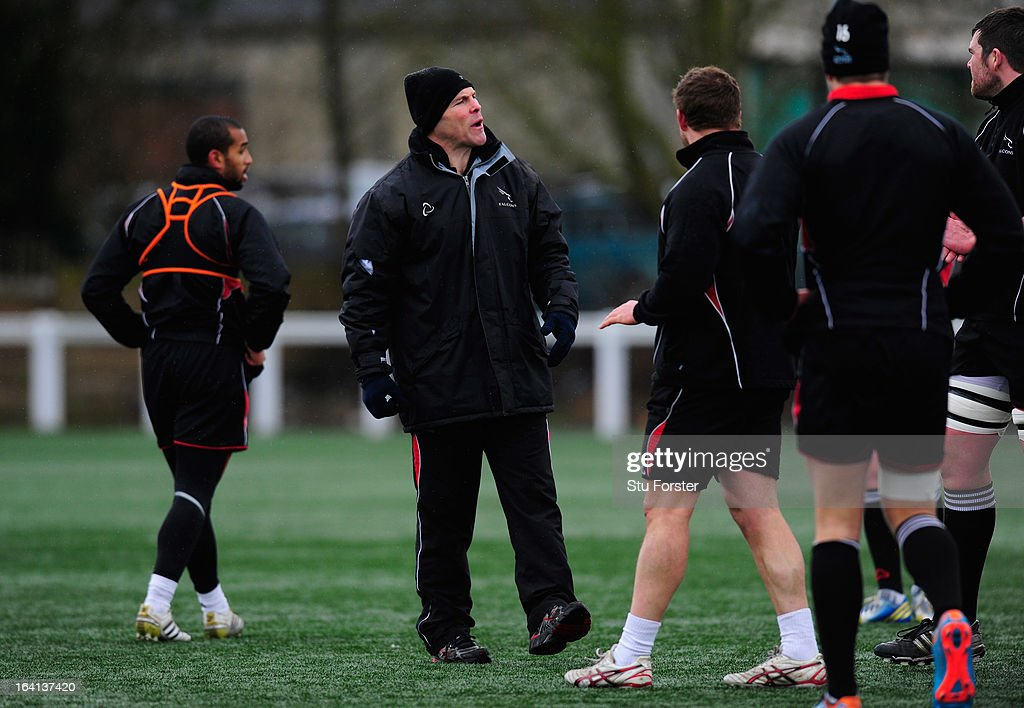 Newcastle Falcons forwards coach John Wells directs training during Falcons training at Druid Park on March 20, 2013 in Newcastle upon Tyne, England.